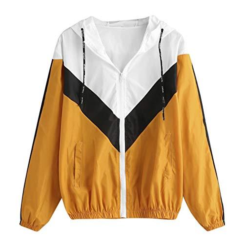 DressLksnf Damen Mantel Langarm Patchwork mit Kapuze Reißverschlusstaschen Sport Windjacke Sweatshirt Mode Kapuzenpullover Jacke...