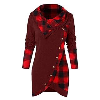 Pullover Damen, Räumungsverkauf Bluse Frauen Lange Ärmel T-Shirt Plaid Turtleneck Tartan Tunic Elegant Tops Poloshirt Sweatshirt Oberteil (Wein, 34)