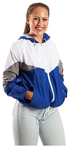 Blouson Damen Übergangsjacke Windbreaker Jacke Kapuzenjacke Colorblock (M, Dunkelblau)