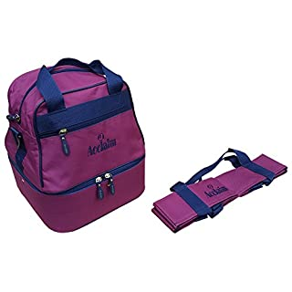 Acclaim Staple Nylon Four Bowl Level Lawn Flat Green Short Mat Locker Bowls Bag And Four Bowls Carrier (Burgundy/Navy Blue)