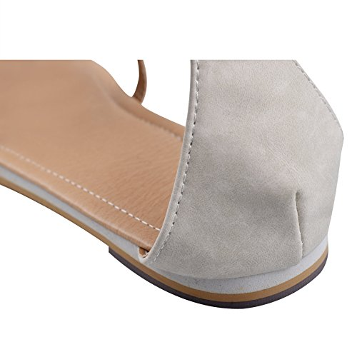 ZOEREA Damen Sandalen Schuhe Knöchelriemen Roman Geflochtene T-Strap Gladiator Sandalen Flats Thong Sandalen Sommer Schuhe Strand Flip Flop Hausschuhe Beige