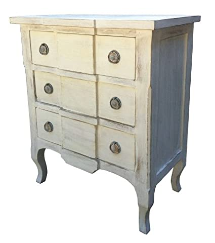 Chateau Shabby Chic French Distressed White Painted Carved 3 Drawer Chest Of Drawers Bedroom Furniture.