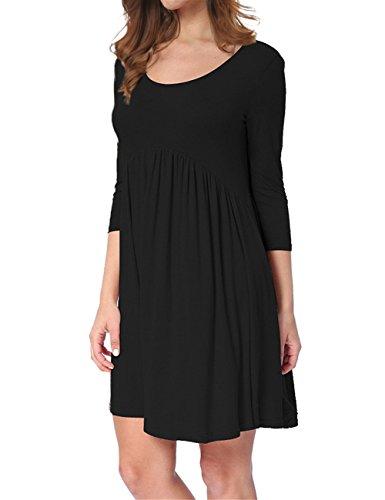 KoJooin Damen Plus Size Shirtkleid Longshirt Dreiviertel Arm Lässige Casual Minikleid Oversize Kleid Schwarz 3XL (T-shirt-kleider Plus Size)