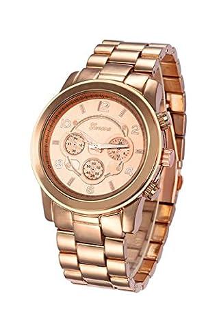 Montre-bracelet - Geneva Unisexe montre-bracelet de bracelet en acier inoxydable or rose