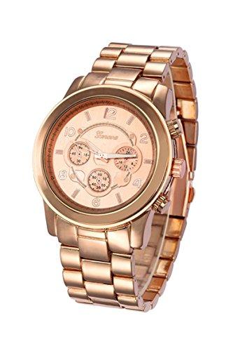 Reloj de pulsera - Geneva reloj de pulsera unisexo de banda de acero inoxidable de color rosado y rosado y oro