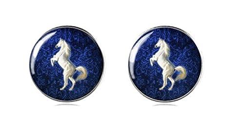 Tizi Jewellery 925 Sterling Silber Weißes Pferd Ohrstecker 12 mm Handgemachte Ohrringe für Damen und Mädchen perfektes Geschenk oder für Party