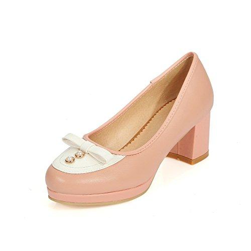 AllhqFashion Damen Mittler Absatz Gemischte Farbe Ziehen Auf Rund Zehe Pumps Schuhe Pink