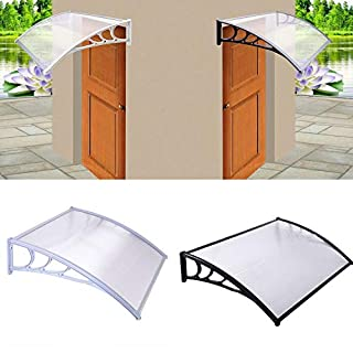 Parkland Door Canopy Awning Shelter Front Back Porch Outdoor Shade Patio Roof (Black)