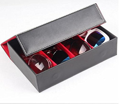 &zhou Lagerung-Boxen/Display Box/4/Männer und Frauen Mode box/bag/glasses/sunglasses//leather/myopia/pressure-resistant/shockproof/Shatterproof/24.5*17*6cm Red
