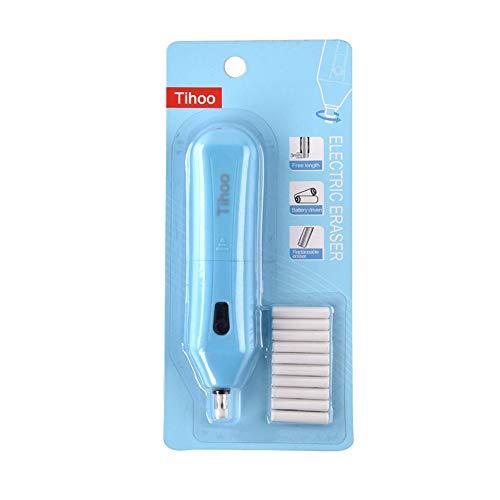 Elektrischer Radiergummi mit 10 Ersatzradierer für Graphitstifte und Buntstifte, batteriebetrieben, Blau, 12,5 x 2,8 x 2,3 cm