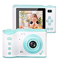 AMERTEER Kids Camera, 8.0MP Creative Digital Dual Camera, Rechargeable Children Camcorder with 2.8'' Touch Screen, 4X Digital Zoom, Toys Gift for 3-12 Years Old Girls Boys Party Outdoor (blue) …