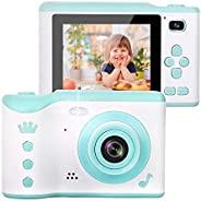 AMERTEER Kids Camera, 8.0MP Creative Digital Dual Camera, Rechargeable Children Camcorder with 2.8'' Touch Screen, 4X Digita