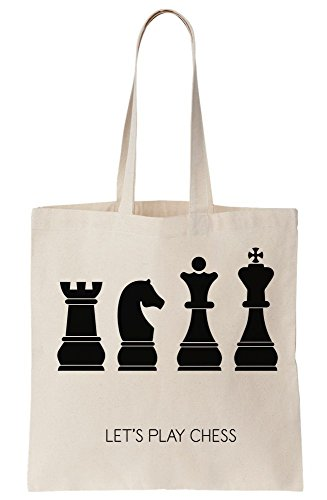 White Canvas Tote Bag (Let's Play Chess Canvas Tote Bag)