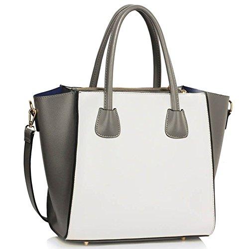 LeahWard® Groß Damen Tragetaschen nett Groß Marke Handtaschen Handgepäck Kabine Gym Reise Arbeit Tasche Zum Damen61 Grau/Weiß B