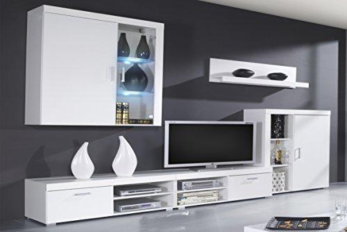 SelectionHome - Mueble Comedor, Salon Moderno con Leds, Acabado en Blanco Brillo Lacado y Blanco Mate, Medidas: 290x200x45 cm de Fondo