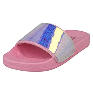 Spot On Girls Casual Sliders H0323 - Pink Synthetic - UK Size 13 - EU Size 32 - US Size 1