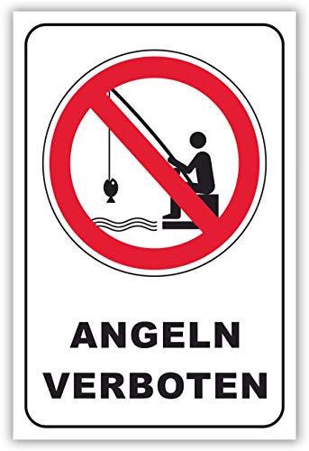 SCHILDER HIMMEL anpassbares Angeln verboten Schild DIN A5 21x15cm Alu-Verbund, Nr 199 eigener Text/Bild verschiedene Größen/Materialien