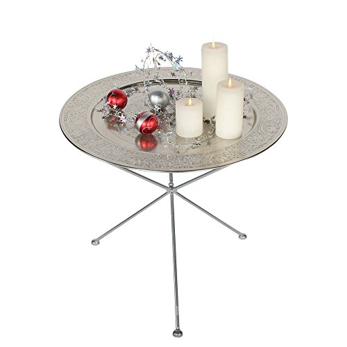 albena shop 73-136 Elim orientalischer Teetisch ø 60cm (Silber) - Wohnzimmer Metall Klapptisch