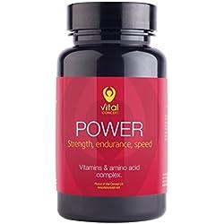POWER – L-Carnitin, Magnesium, Vitamin B Komplex, Vitamin C, Guarana. Kraft, Ausdauer und Geschwindigkeit tabletten. Kombination von Vitaminen und Aminosäuren. 60 pflanzliche Kapseln, GVO - und gluten