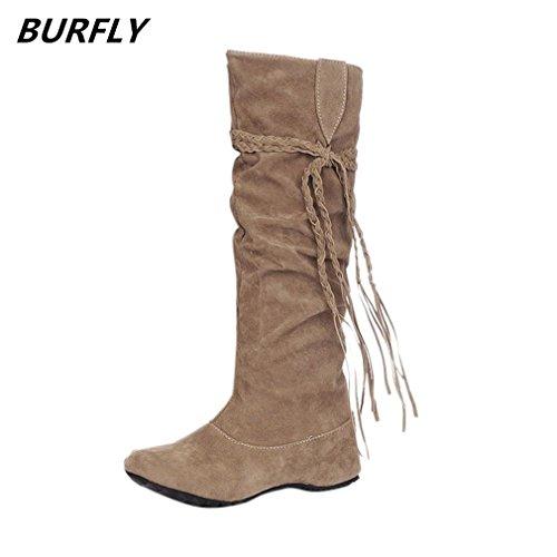 Hoher runder Kopf in den hohen Stiefel-Schuhen BURFLY Frauen Bootie Frauen Erhöhen Plattformen Schenkel High Tessals Stiefel Boots Schuhe (EU:42, Gelb) (Bootie Hohe)