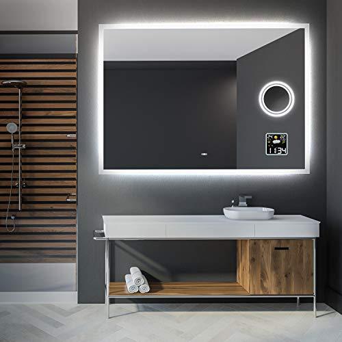 Artforma 120 x 80 cm Espejo de Baño con Iluminación LED - Luz Espejo de Pared con Accesorios - Interruptor...