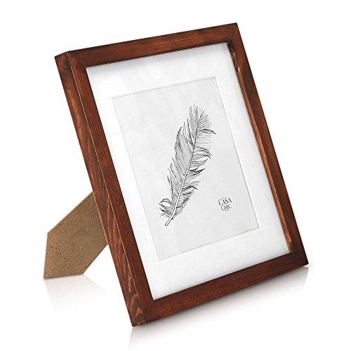 Classic by Casa Chic Quadratischer Bilderrahmen aus Echtholz - 25x25 cm mit Glasscheibe - Rustikales Braun - Mit Passepartout für 18x18 cm Bilder- Rahmenbreite 2cm