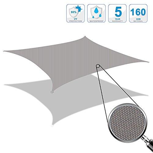 Cool Area 3x3m Quadrat Sonnensegel Sonnenschutz Segel, UV Schutz PES wasserabweisend für Balkon...