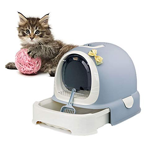 DJLOOKK Selbstreinigende Katzenklo, Tragegriff-Fach Toilettenbox Ultra Selbstreinigender Katzenklo Dome Outdoor Waterproof Hood Cat Litter Box,Gray