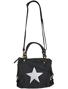 Canvas Echtleder Damentasche Shopper Henkeltasche 3 Größen mit Stern