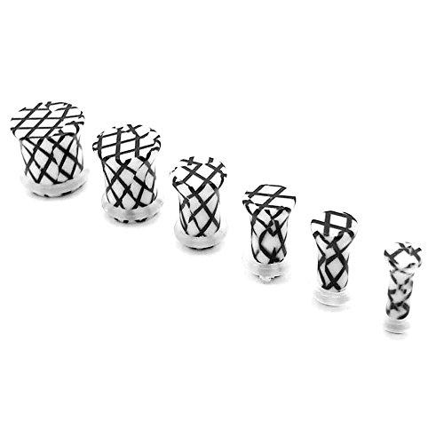 piece-ou-set-flesh-tunnel-plug-piericng-oreille-expandeur-3-4-5-6-8-10-mm-blanc-grille-quadrille-far