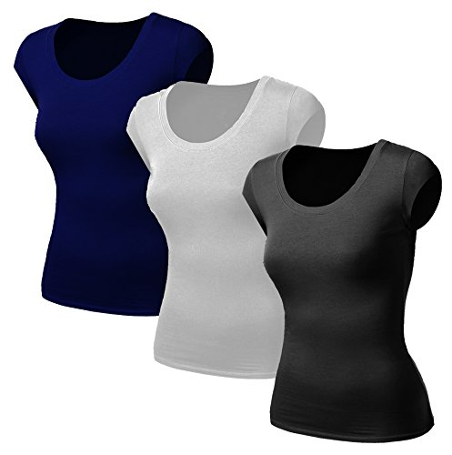 3x Damen Frauen Kurzarm T Shirt - 3er Pack - Basic TShirt - Basis Bluse - Tops - 3 in 1 Schwarz + Weiss + Dunkelblau