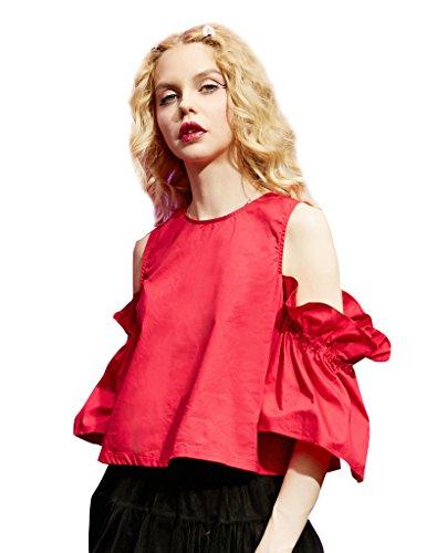elf-sack-chemisier-taille-empire-imprime-azteque-col-rond-manches-3-4-femme-rouge-medium
