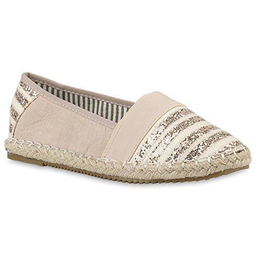 Stiefelparadies Bequeme Damen Espadrilles Bast Slipper Metallic Glitzer Flats Freizeit Sommer Schuhe 142941 Nude Bast 37 Flandell