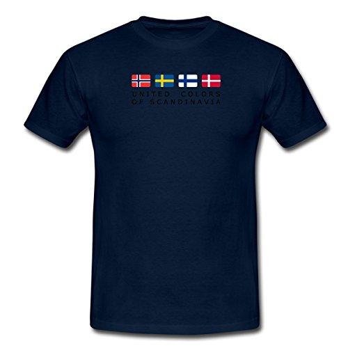 Spreadshirt United Colors of Scandinavia Finnland Norwegen Schweden Dänemark Männer T-Shirt, L, Navy