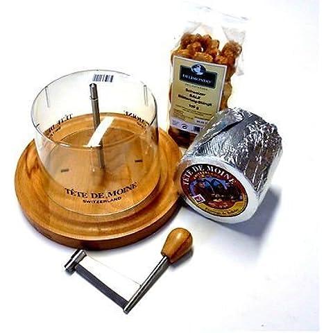 Conjunto Completo Máquina de cortar del queso 1 en toda Pan ca 850g Tete de Moine Queso de cabeza de monje 100 g Suiza Sal Masa de hojaldre
