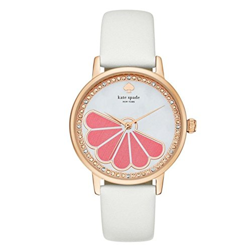 KATE SPADE WOMEN'S 34MM WHITE LEATHER BAND STEEL CASE QUARTZ WATCH KSW1121