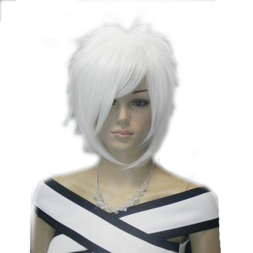 QIYUN.Z Haarteile Damen Perücken Flauschigen Weißen Kurzen Stacheligen Unisex Männer Haarnetz Voller Anime Cosplay Kostüm Perücke