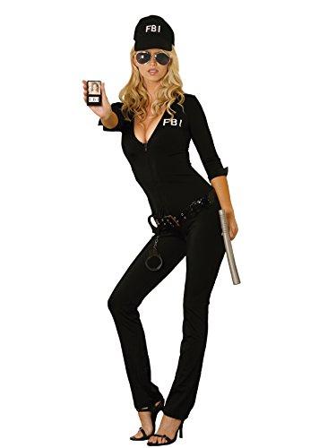 Zabeanco Sexy weibliche FBI Agent 7-teiliges Halloween-Kostüm - Schwarz - Small