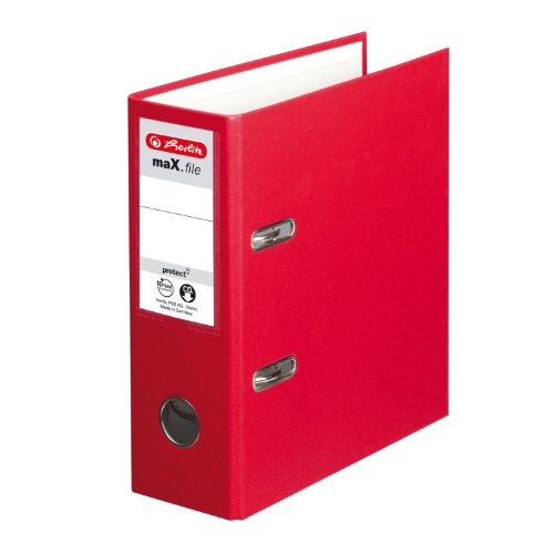 Herlitz 10842318 Ordner maX.file protect, A5 hoch, Farbe rot, FSC Mixed