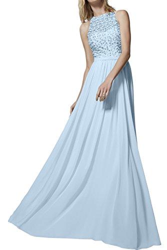 TOSKANA BRAUT Elegant aermellos Schleppe Chiffon mit Perlen verziert A-Linie Stehkragen Abendkleider Partykleider Cocktailkleider Hell Blau