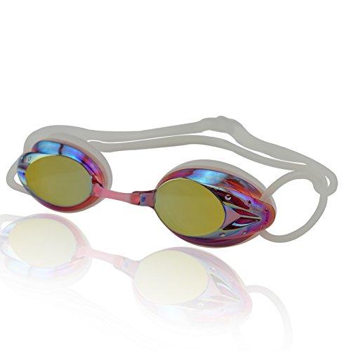 Verspiegelt Schwimmbrille (»Harpoon« Schwimmbrille / 100% UV-Schutz + Antibeschlag / Starkes Silikonband + stabile Box / AF-2000m / pink)