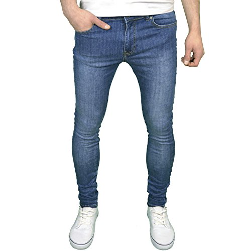 526Jeanswear Herren Stretch Super Skinny Fit Jeans 34W/32L, Mid Stonewash