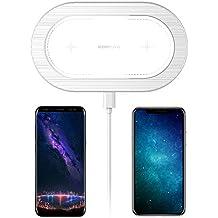 Cargador inalámbrico, ICONFLANG [5W] Cargador inalámbrico doble para iPhone X iPhone 8 Plus iPhone 8 Samsung Note8 S8 S8 Plus S7 S7 Edge S6 S6 Edge y otro dispositivo habilitado para Qi, [No es compatible con iWatch], 2.4A o QC3.0 Adaptador Necesario, [No Incluido] - Blanco Elegante