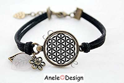 Bracelet * Fleur de vie * Mandala noir blanc bijou cabochon vintage original vintage romantique