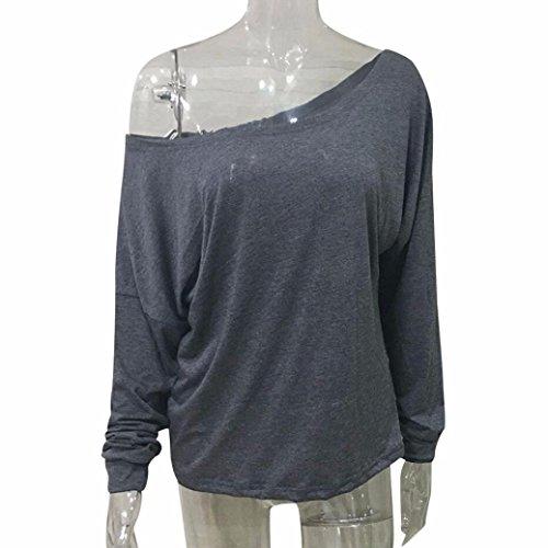 Sannysis Damen Lässig Grau Langarm-Rampen-Hemd-Bluse Grau