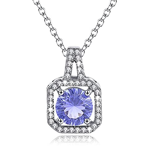 Birthstone Necklace Halo Diamond Sapphire Blue Cubic Zircon September Square Pendant Christmas Gifts