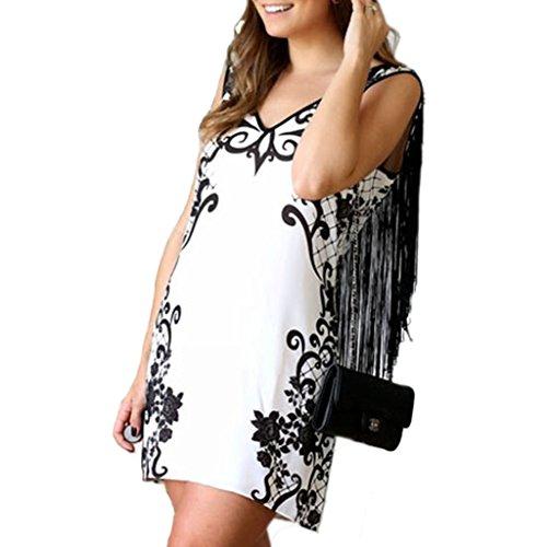 mywy - Abito donna vestito francie vestitino bianco stampa nero miniabito francia Bianco