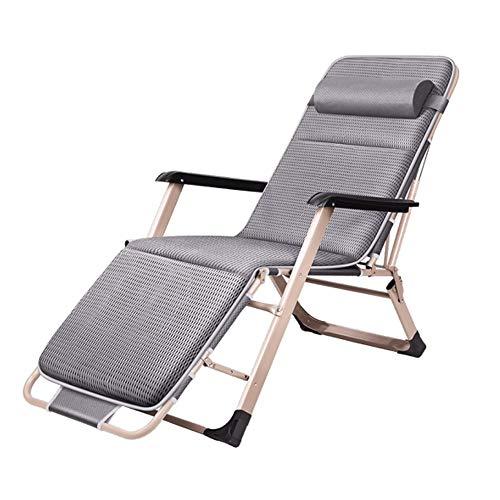 LJG SHOP Faltbare Liege im Freien Sonnenliege Sessel Terrasse Gartenmöbel Stuhl Bett Chaise Lounge Relaxer Stuhl mit 4D Wattepad (Farbe : Gray) -