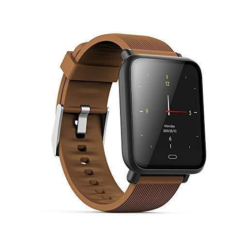 TEEPAO Q9 Smartwatch/Fitness-Tracker, 3,3 cm HD Farb-Touchscreen, IP67, wasserdicht, schlankes Sportarmband mit Blutdruck-Herzfrequenz-Monitor, Fernbedienung für Android/iOS Coffee -
