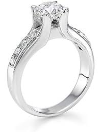 Diamant Ring 1.21 Ct W H/SI1 Round 18 Karat (750) Weißgold (Ringgröße 48-63)